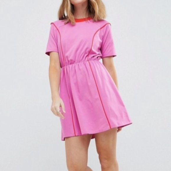 ASOS Dresses & Skirts - ASOS Pink and Red Skater Dress Retro